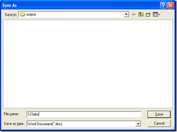 "dialog box of ""Save As"" for saving DOC and producing DOC"
