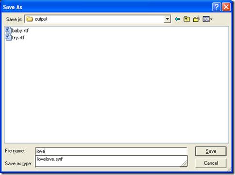 "dialog box of ""Save As"" for saving RTF file"