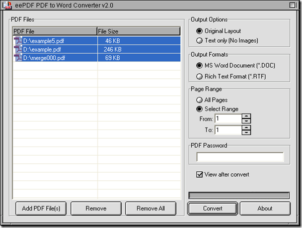 interface of PDF to Word Converter