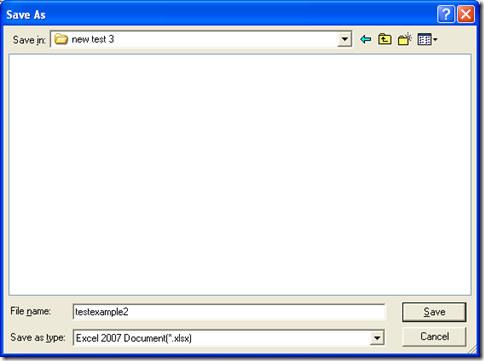 save XLSX file with dialog box of 'Save As' and click 'Save'