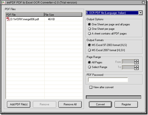 interface of EEPDF PDF to Excel OCR Converter