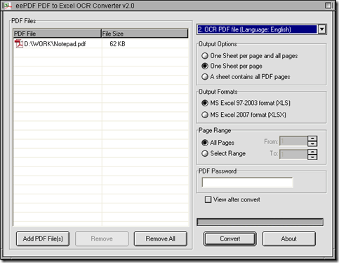 interface of EEPDF PDF to Excel OCR Converter for scanned PDF to XLS