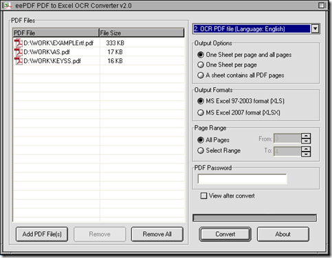 interface of EEPDF PDF to Excel OCR Converter for image PDF to Excel in batches