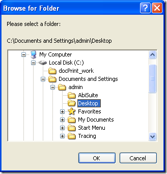 """dialog box of """"Browse for Folder"""""""