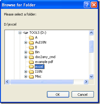 "dialog box of ""Browse for folder"""