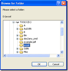 """dialog box for select targeting folder and one click on """"OK"""""""
