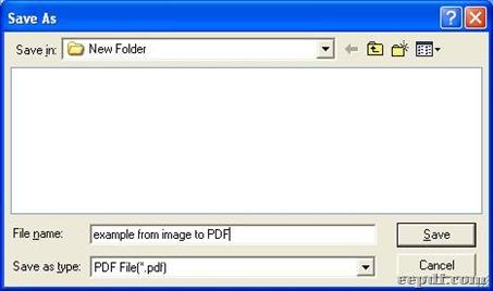 Dialog box for saving PDF