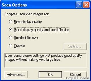 Panel of scan options