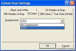 Panel of custom settings under tab 16 colors