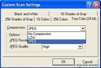 Panel of custom settings under tab true color 24 bits