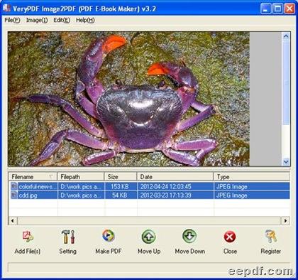 Interface of EEPDF JPG to PDF Converter