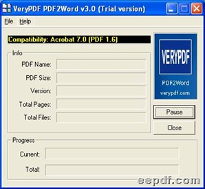Interface of EEPDF PDF2Word Combiner