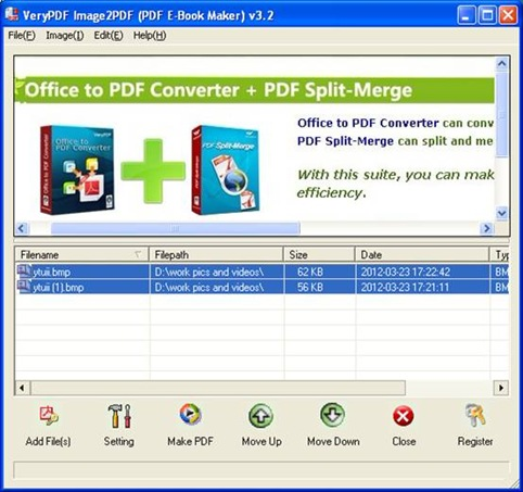Interface of EEPDF BMP to PDF Converter