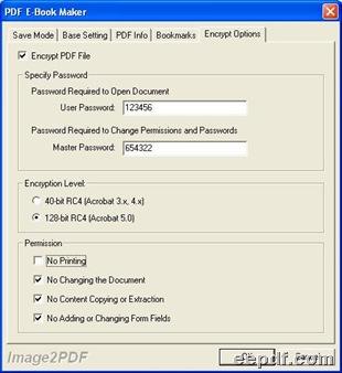 Setting panel under tab Encrypt Options