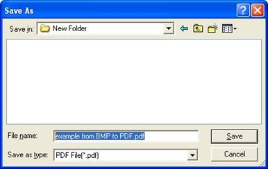 Dialog box for saving PDF