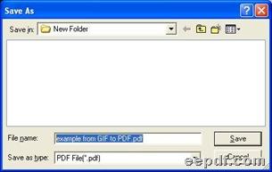 Dialog box for saving PDF files