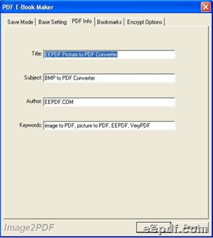 Setting panel under tab PDF Info