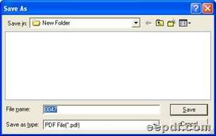 Dialog box for saving PDF files