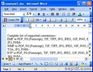 Preview of produced Word file of DOC through conversion from PDF to Word