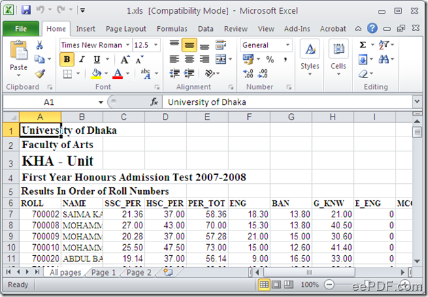 excel document after the conversion from pdf to excel