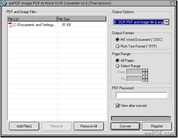 set parameters to convert image PDF to Word