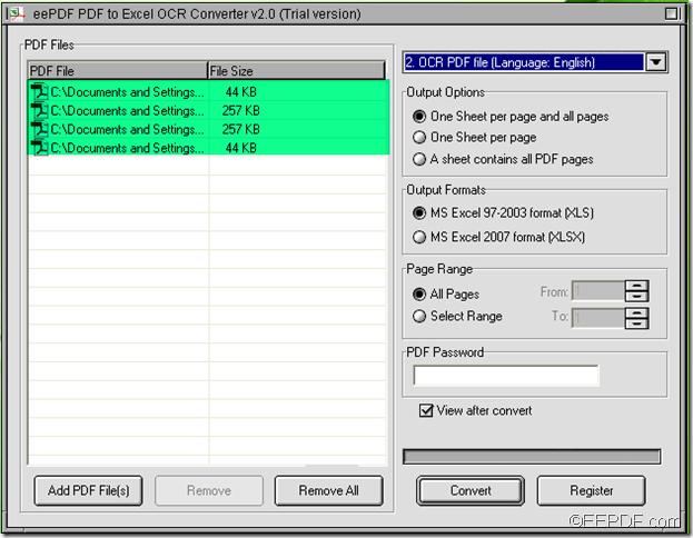 batch convert PDF to Excel using EEPDF PDF to Excel OCR Converter