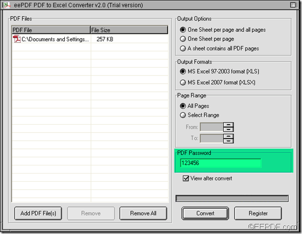 convert encrypted PDF to Excel using EEPDF PDF to Excel Converter