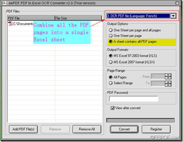 convert scanned PDF to Excel using EEPDF PDF to Excel OCR Converter
