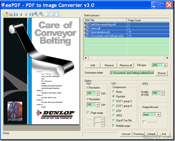 batch convert PDF to image using EEPDF PDF to Image Converter
