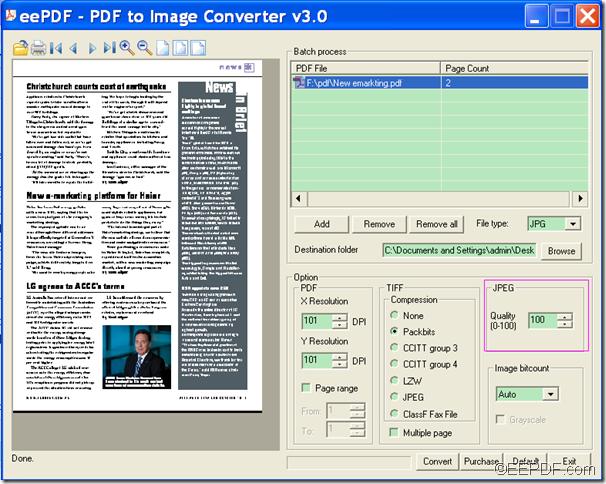 convert PDF to JPG image and set image quality using EEPDF PDF to Image Converter