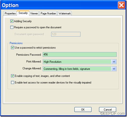 encrypt PDF with EEPDF Office to PDF Converter