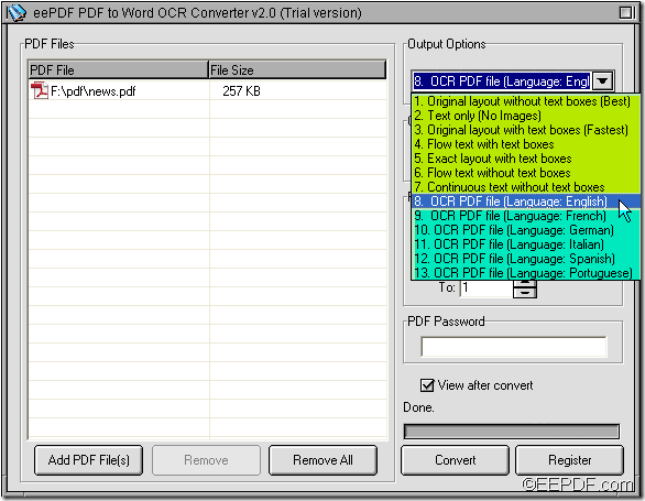 OCR scanned PDF to Word with EEPDF PDF to Word OCR Converter