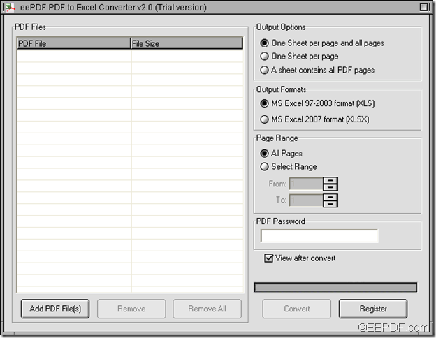 convert PDF to Excel with EEPDF PDF to Excel Converter