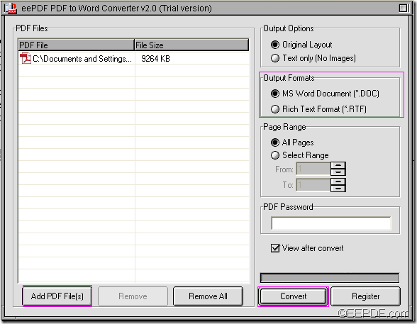 convert PDF to Word with EEPDF PDF to Word Converter