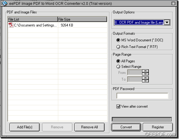 convert image PDF to Word with EEPDF Image PDF to Word OCR Converter