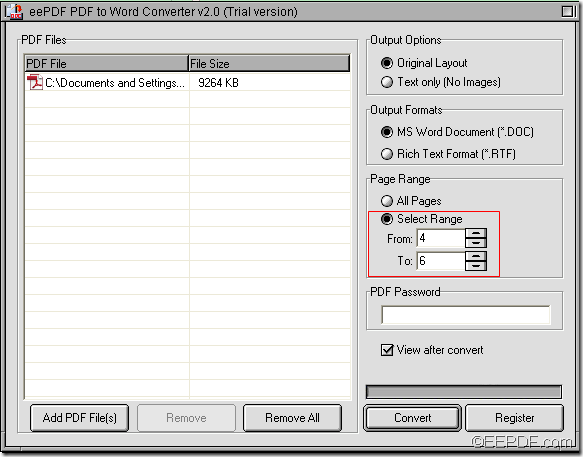 convert part of PDF to editable Word with EEPDF PDF to Word Converter