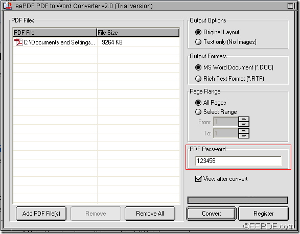 convert password PDF to Word with EEPDF PDF to Word Converter