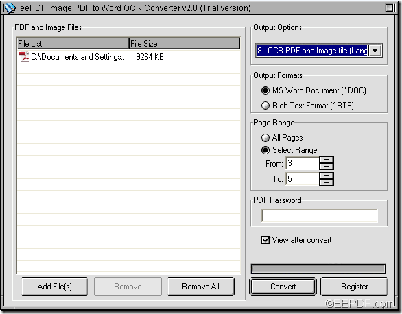 convert scanned image PDF to Word with EEPDF Image PDF to Word OCR Converter