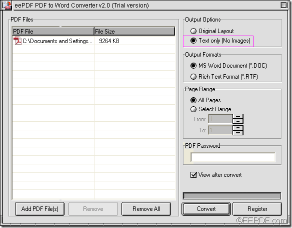 extract texts with EEPDF PDF to Word Converter