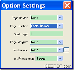 set page number position