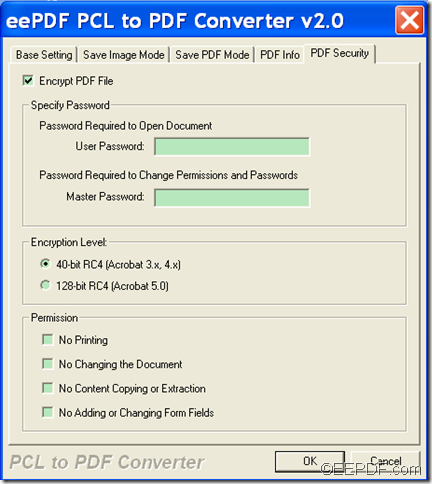 convert PCL to encrypted PDF with  EEPDF PCL to PDF Converter