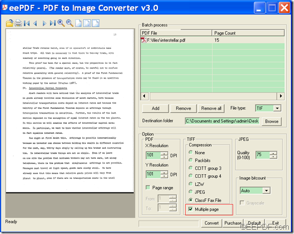 convert PDF to  FAX TIFF with EEPDF PDF to Image Converter