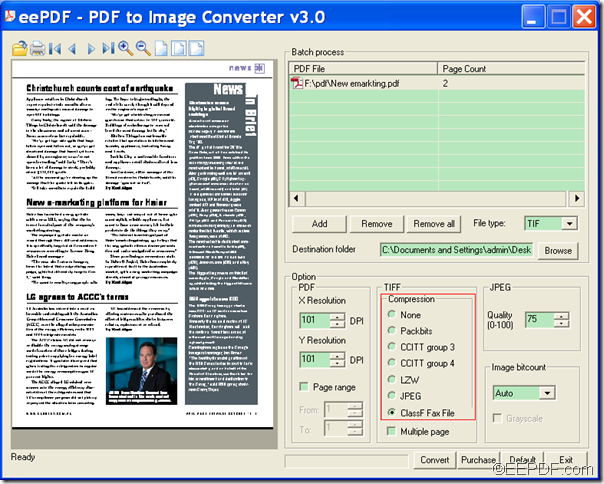 convert PDF to compressed TIFF image with EEPDF PDF to Image Converter