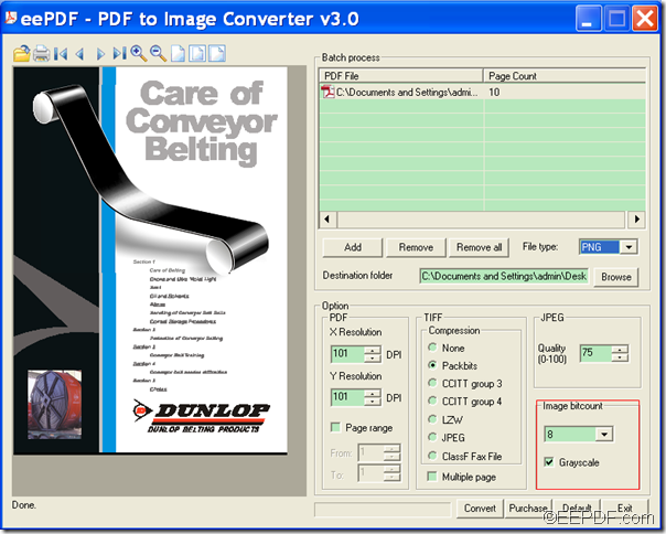 convert PDF to grayscale image with EEPDF PDF to Image Converter