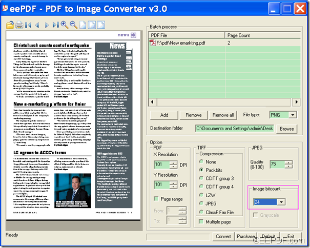 convert PDF to image with EEPDF PDF to Image Converter