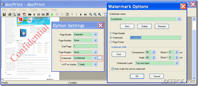 print PDF with watermark by virtual printer with EEPDF Document Converter Professional