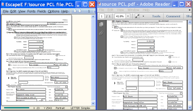 input PCL file and output PDF file