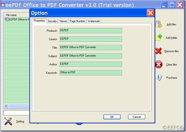 set PDF property in EEPDF Office to PDF Converter