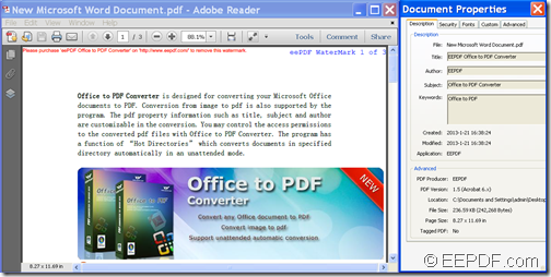 Output PDF file and PDF information