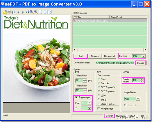 convert PDF to JPG image with EEPDF PDF to Image Converter